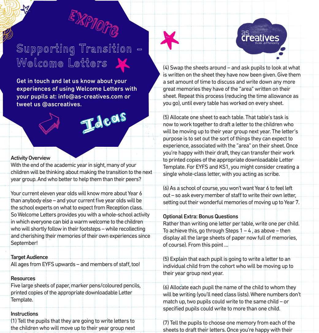 Teaching Resource: Welcome Letters – Transition Activity