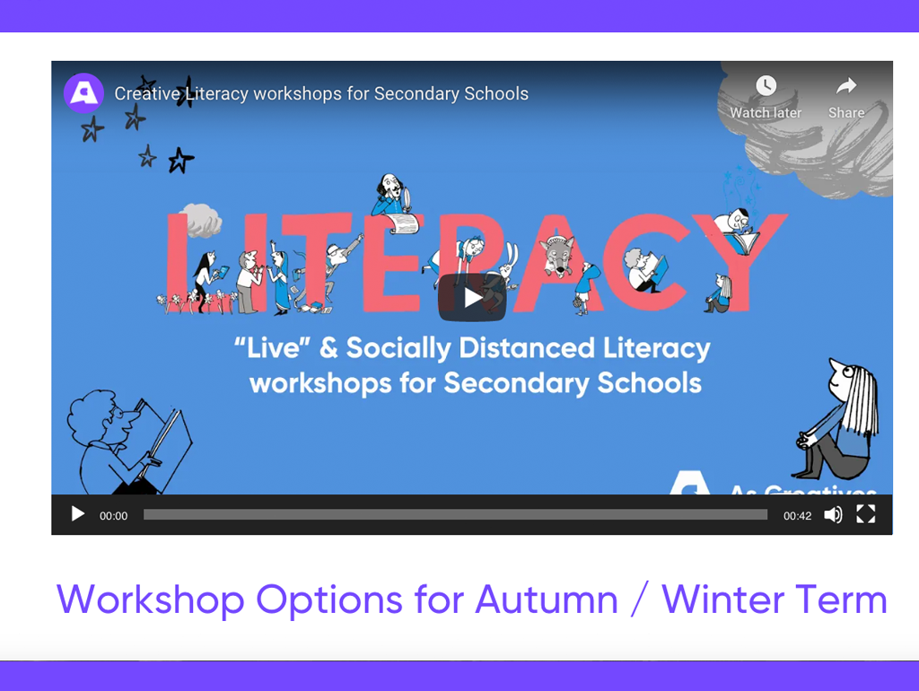 Socially Distanced, Digital and Live Streamed Literacy Workshops for Secondary Schools – Winter Term 2021