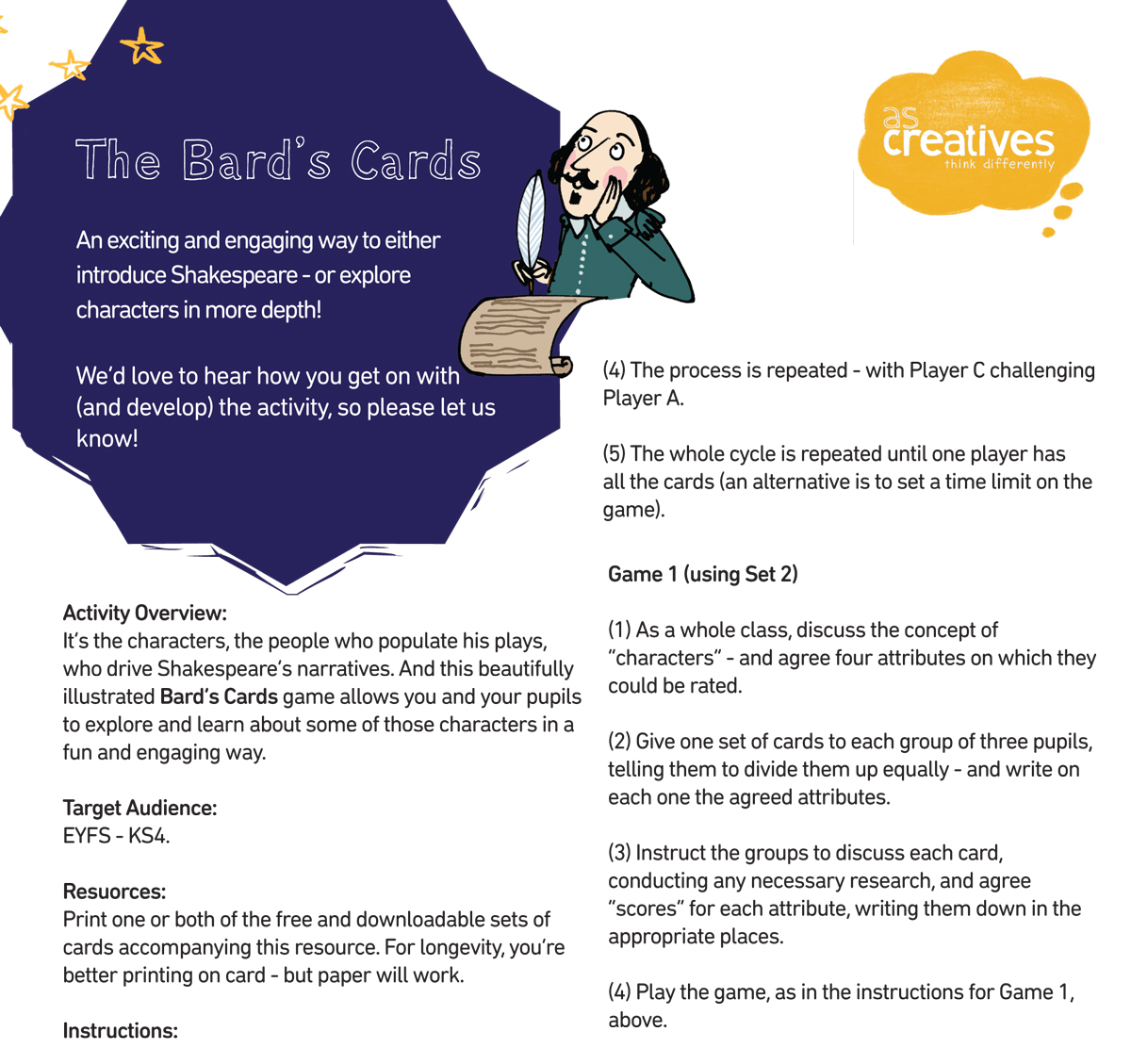Teaching Resource: Shakespeare – The Bard's Cards